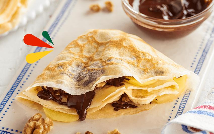 Receta de crepe de chocolate con kiwi